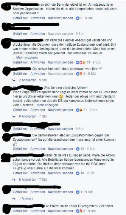 Kommentare zur Pendler Aktion auf der Sylt TV Facebookseite