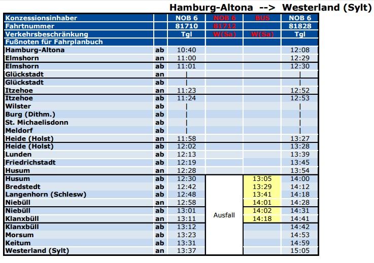 NOB Busersatzfahrplan> NOB Fahrplan zwischen Sylt und dem Festland am 21. Nov.2016 | Sylt TV >