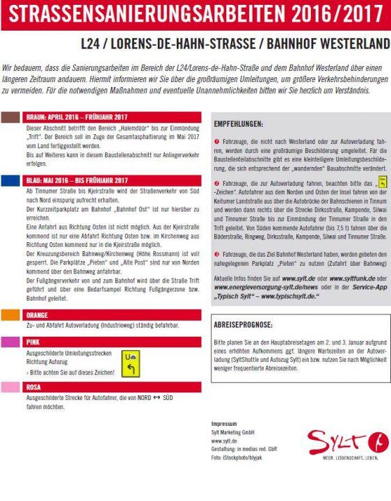 Infoblatt zur Verkehrssituation auf Sylt zu Weihnachen und Silvester