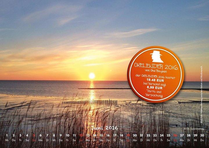 Der Juni auf dem Sylt Kalender 2016