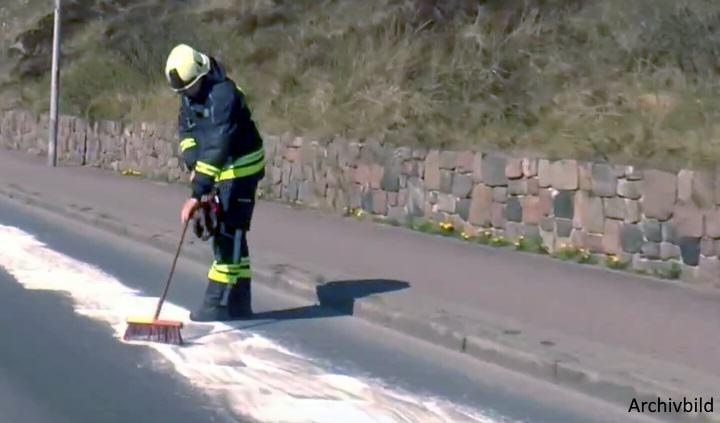 Die Feuerwehr musste das Öl entfernen