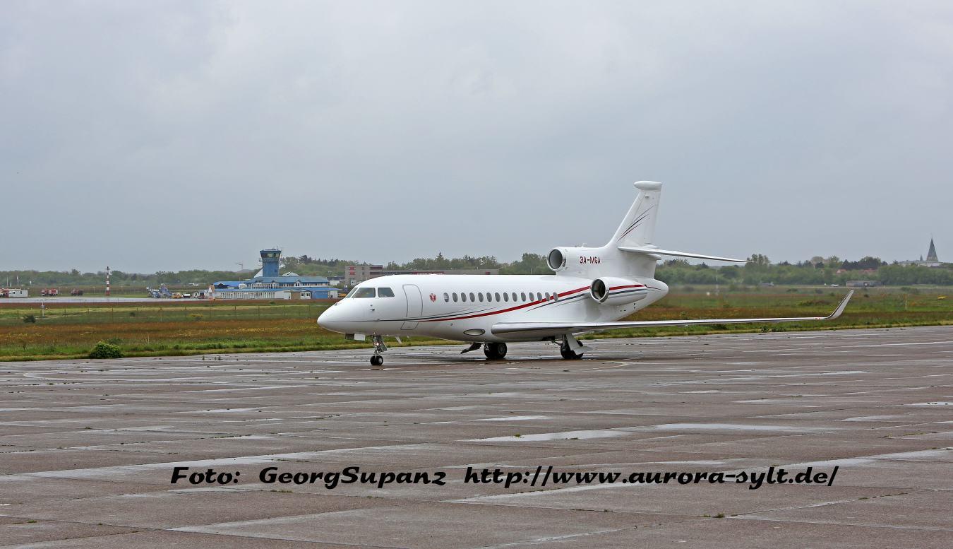 Flugzeug von Prinz Albert von Monaco landet auf Sylt