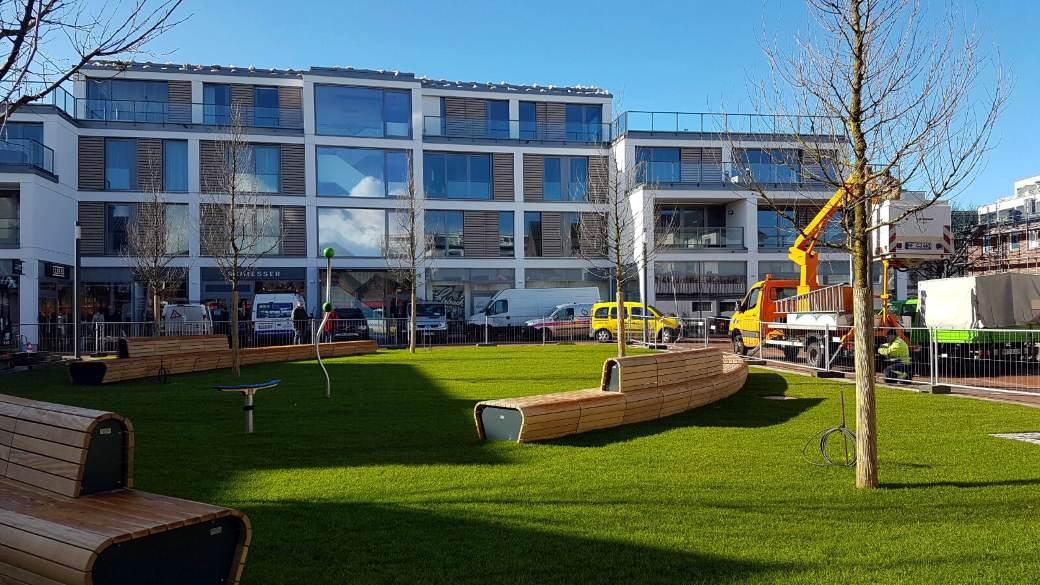 Shoppingzentrum und neuer Park in Westerland