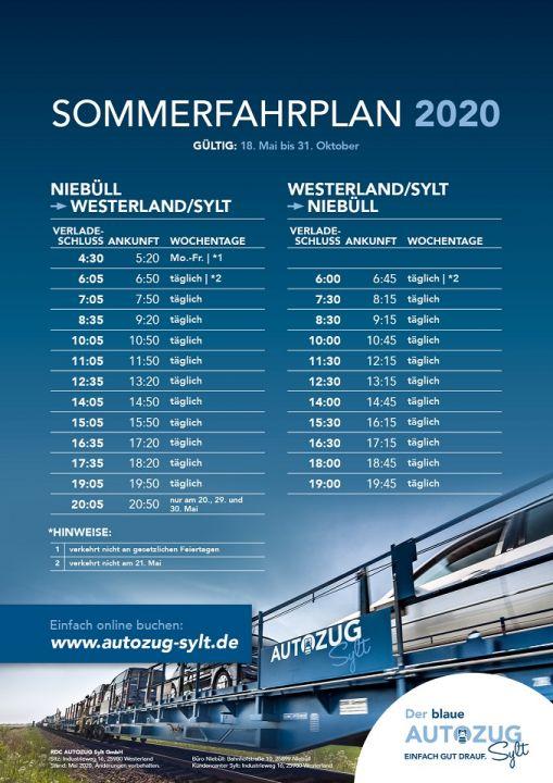 Der Fahrplan des RDC Autozug Sylt 2020