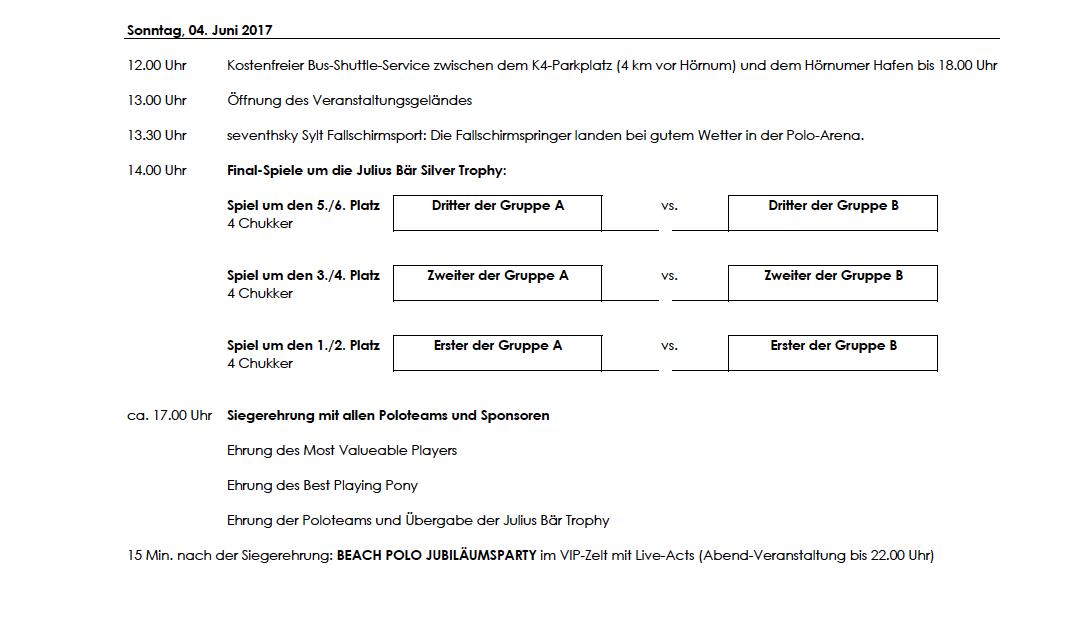 Beach Polo Spielplan Sylt 2017 Endrunde