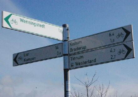 Radwegbeschilderung auf der Insel Sylt