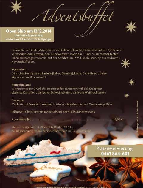 weihnachtliche syltf hre mit adventsbuffet open ship. Black Bedroom Furniture Sets. Home Design Ideas