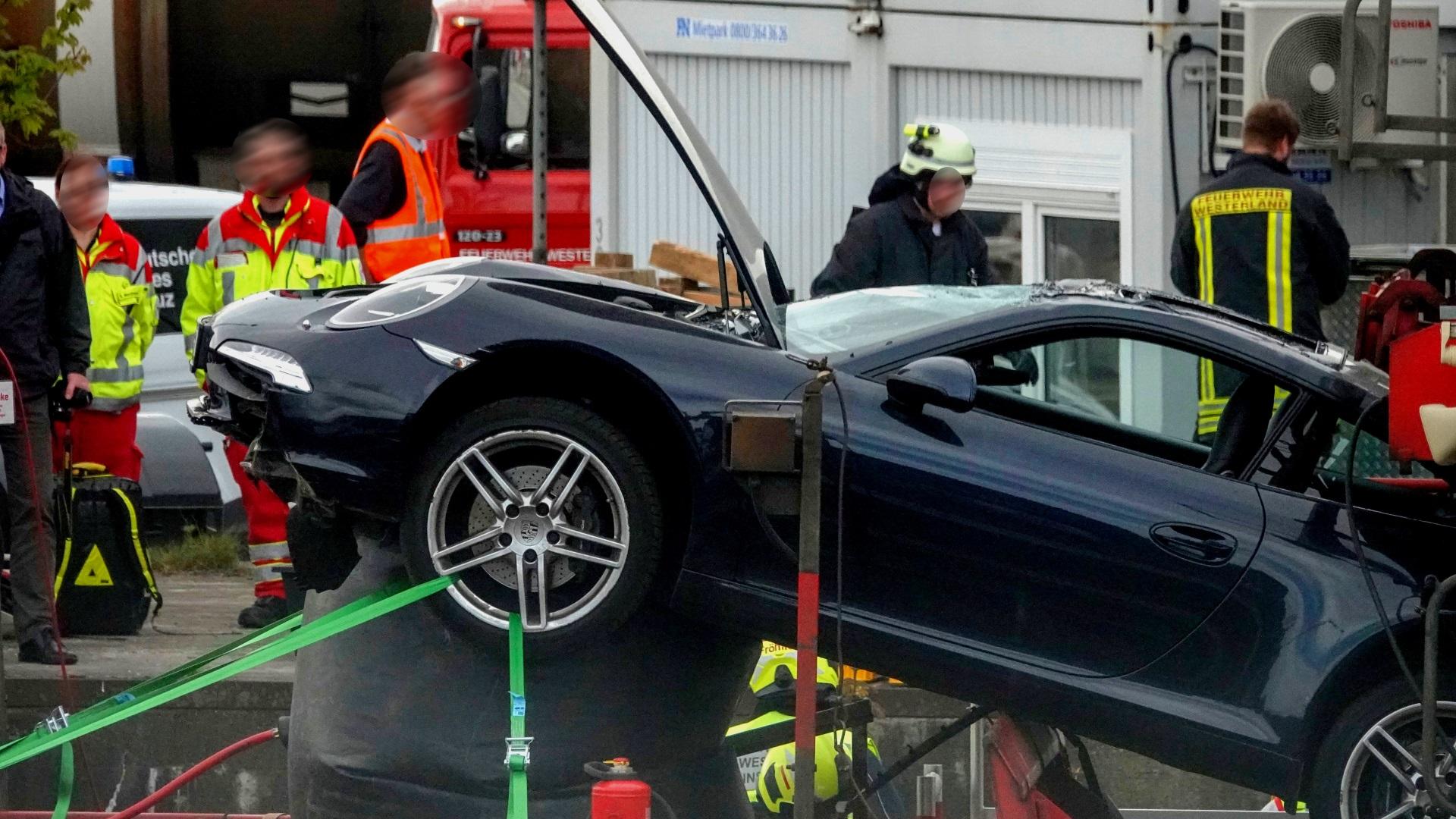 Porsche Unfall auf Syltshuttle
