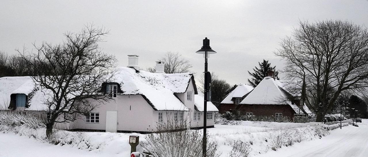 Kampen auf Sylt im Winter 2021 ganz in Weiß